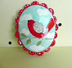 Red Bird Wall Cameo (joyelizabethceramics) Tags: wallart cameo polkadot redbird redpolkadot ovalshaped whimsicalpottery joyelizabethceramics