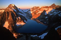Silver Lake Morning (justb) Tags: park justin brown mountain lake mountains film sunrise silver hope us washington colorful baker bc state devils north clear ridge mount velvia alpine national cascades summit fujifilm wilderness rugged custer alpinism tougue spickard justb