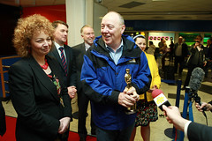 Culture Minister Carl Ni Chuiln and Oorlagh and Terry George at the red carpet reception in Belfast City Airport to welcome them home after winning an Oscar for their short film The Shore (Northern Ireland Executive) Tags: theshore terrygeorge carlnichuiln oscars2012 oorlaghgeorge dcalniscreen