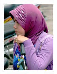 Waiting on the market . (Franc Le Blanc) Tags: portrait bali girl lumix waiting candid hijab panasonic streetphoto moslima munduk