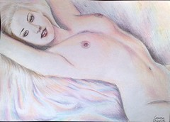 nud feminin in creioane colorate (Kore Maiden) Tags: nude drawing nudewoman colorpencil pencildrawing nud desen desenincreion