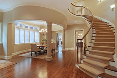 "Villa East curved main stair • <a style=""font-size:0.8em;"" href=""http://www.flickr.com/photos/75603962@N08/6853312921/"" target=""_blank"">View on Flickr</a>"