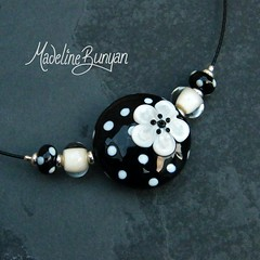"""Polka Dot and Flower Necklet, Black and Cream • <a style=""""font-size:0.8em;"""" href=""""https://www.flickr.com/photos/37516896@N05/6857355665/"""" target=""""_blank"""">View on Flickr</a>"""