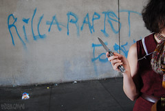 """KILL A RAPIST, FOREAL"" Graffiti - Oakland, CA (EndlessCanvas.com) Tags: woman girl graffiti knife rape militant rapist feminist switchblade antirape killarapist"