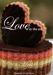Love is in the Air: Tri-Color HEART Cookies (Baking is my Zen) Tags: cookies dessert baking chocolate valentinesday loveisintheair carmenortiz canonrebelt1i bakingismyzen valentinesdaygiftideas tricolorheartcookies caitlincooks