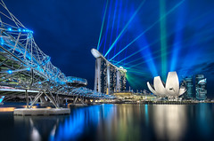 Marina Bay Sands and The Helix Bridge - (Singapore) (blame_the_monkey) Tags: city travel bridge water skyline architecture night reflections mba singapore asia wideangle db sing singers bluehour portfolio sg lightshow mb hdr adb marinabay helixbridge dynamicblending marinasands doublehelixbridge advanceddynamicblending