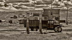 Bodie, Shell station. (Randy Weiner Photography) Tags: california usa abandoned sepia iso100 ghosttown bodie sierranevada f95 1860 miningtown oldwest highway395 monocounty bodiestatepark oldshellstation hasselbladh3d31 topazblackandwhiteeffects