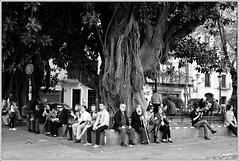 Young and old (Jos Dielis) Tags: street city vacation people urban bw season square vakantie spring sevilla spain holidays cities lente plein steden spanje straat voorjaar seizoen