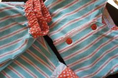 Finally Finished!  Oliver & S Pajamas (Cut To Pieces) Tags: orange coral clothing aqua sewing label polkadots fabric flannel childrenatplay olivers sarahjane sleepoverpajamas