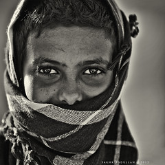 Eyes' Smile :   (Sakhr Abdullah |   ) Tags: boy portrait white black monochrome beauty smile eyes child shepherd