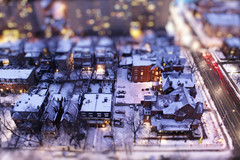 Magic of Snowy Purple-Blue Hour in Toy-ronto! (Katrin Ray) Tags: longexposure blue winter urban snow night canon lights golden colours purple toyland the gooderham tiltshift canonphotography photoshoptiltshift tilfshift purplehour miniaturestyle digimagic projectweather toyrontolife jarvismansiondistrict housebuilt raydreamscapes toymansions earlybluehour 1891torontoontariocanadakatrin magicofsnowypurplebluehourintoyronto torontohappyminiaturesunday