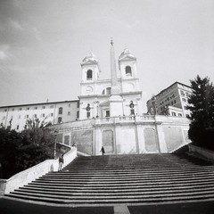 Romeography (stuartbridson) Tags: white black rome film analog mono lomography steps spanish diana f della dei monti trinit scalinata