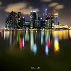 The Night That The Lights Never Went Out | Part 25 | Singapore (naza.carraro) Tags: trip travel bridge tourism colors architecture night marina photoshop river photography bay high nikon singapore exposure dynamic district tripod central cable quay tokina business esplanade shutter leisure cbd stamford timer range fullerton increase temasek manfrotto raffles sungai ntuc bracketing cs4 airasia maybank d90 carraro photomatix naza artscience 1116f28 naza1715 nazarudin wijee itsnotmagicitsscience