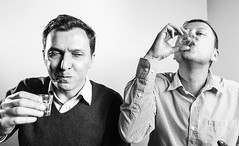 After the first... (Max Mayorov) Tags: portrait people bw face contrast funny shot drink head expression drinking alcohol vodka grimace aspect