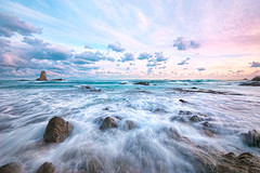 Waves on Maiso Beach (-TommyTsutsui- [nextBlessing]) Tags: longexposure pink blue winter light sunset sea sky seascape green beach nature rock japan clouds landscape nikon tide scenic wave shore       izu shimoda    sigma1020   thepowerofnow onsalegettyimages