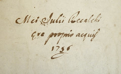 Ownership inscription of Julius Recalchus[?] (Provenance Online Project) Tags: inscriptions unidentified 1756 provenance 1750s pennlibraries cultureclasscollection italiancultureclasscollection ic55m2915589n recalchusjulius