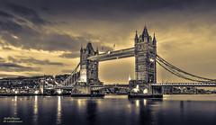 Tower Bridge by split toning (mlphoto) Tags: travel england blackandwhite london towerbridge pentax bluehour sight hdr towerhill longtimeexposure unitedkindom pentaxk20d mlphoto mlphoto markuslandsmannzenfoliocom