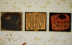 L.A.B. - Structure paintings progressing (Bruners) Tags: kent lab open paddy hamilton paintings structure dungeness studios buckminster progressing