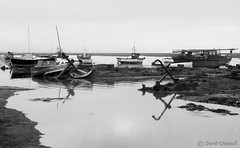 A Right Pair Of Anchors (David Chennell - DavidC.Photography) Tags: bw reflection monochrome yacht estuary anchor hightide wirral merseyside riverdee neston tidalestuary shelldrake