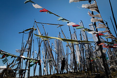 Prayer flags at Chelela Pass (Lil [Kristen Elsby]) Tags: asia bhutan canon5dmarkii chelela travel travelphotography chelelapass pass mountainpass flag flags prayerflag prayerflags buddhism buddhist bhutanese highaltitude altitude wind windy guide man silhouette forflickrvision forflickreditorial forgettycurators