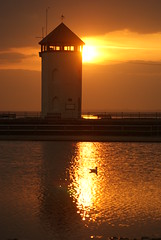 Brightlingsea Tower at Sundown (sheilarogers22 Out and About) Tags: sunset orange water yellow sundown brightlingsea sonya200 brightlingseatower