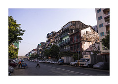 Shwedagon Pagoda Road (jrockar) Tags: life road street city morning travel people urban 3 man building guy architecture canon photography early photo asia crossing mark yangon burma iii documentary human madness l 5d myanmar southeast everyday ef f4 1740 mk ordinary subtle f4l capita ordinarymadness