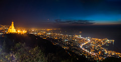 Jounieh From Harissa At Night (Paul Saad) Tags: sunset sky panorama lebanon mountain color colour church night lights nikon pano panoramic zouk harissa jounieh infiniteexposure