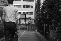 smoking area (edwardpalmquist) Tags: street city travel people urban blackandwhite plant man building tree nature monochrome japan architecture tokyo