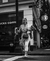 Not Enough Hands (TMimages PDX) Tags: road street city people urban blackandwhite monochrome buildings portland geotagged photography photo image streetphotography streetscene sidewalk photograph pedestrians pacificnorthwest avenue vignette fineartphotography iphoneography