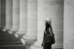 rome (Roberto.Trombetta) Tags: city summer portrait people blackandwhite italy woman white pope black vatican rome roma cute art girl monochrome beautiful beauty hat fashion st architecture zeiss hair amazing san long italia bokeh basilica jubilee sony fineart fine perspective chapel tourist sensual vaticano peter e porch stunning papa column alpha 85 bianco nero cappello portico pietro sistine prospettiva giubileo batis sistina carlzeiss colonnato batis1885 7rii