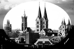A skyline of Roermond (Netherlands) (Hans Dethmers) Tags: city blackandwhite monochrome flickr fuji zwartwit roermond cathedraal stadsgezicht munsterkerk natalini christoffelkerk natalinitoren hansdethmers