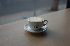 handsome latte (lazybone cafe) Tags: camera leica blur art texture film cup glass coffee shop 35mm out lens losangeles cafe focus downtown dof bokeh district grain arts handsome rangefinder warehouse summicron m8 espresso manual noise latte legacy asph lazybone roasters lazybonecafe