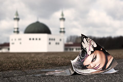 Collision (issa ) Tags: fotomaraton woman west architecture canon photography 50mm europe flickr sweden bokeh islam religion culture makeup mosque clash east liberalism malm collision conservatism unveiled diference beautymagazine primelense fotosndag