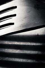 A Dinner Fork-07 (Hani*) Tags: bw macro closeup canon blackwhite naturallight noflash macrolens 100macro dinnerfork forkshadows