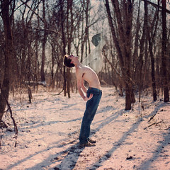 Relinquished (Cameron Bushong) Tags: blue trees snow man cold self square pain woods shadows bokeh ghost jeans bark soul 366 creepyhands