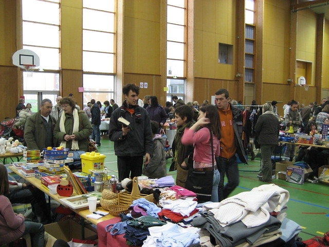 Shopping at the VIDE GRENIER (flea market).