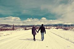 Walk beside me (jan_clickr) Tags: winter woman selfportrait snow man mountains art photography photo colorado couple walk indian fineart denver holdhands project365 postaday walkbesideme studiojan