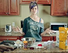 "Happy ""Cutesy"" Valentine's Day (Paguma / Darren) Tags: woman cooking kitchen female baking model mess valentine karolina valentinesday"
