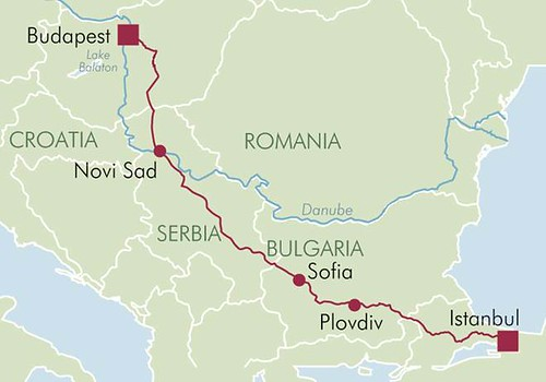 Danube Express - Map of the Budapest - Istanbul Route