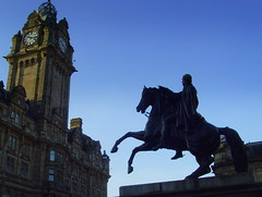 Edinburgh Blue Skies (Tony Worrall Foto) Tags: city blue light sky urban sculpture horse tower art statue hotel scotland photo edinburgh ride image dusk north stock scottish tony lit outline feature publcart 2012tonyworrall