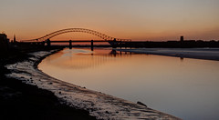 England - Runcorn - Jubilee Bridge At Sunset From Wigg Island - HDR - 27th March 2012-106_7_8.jpg (Redstone Hill) Tags: bridge sunset england cheshire tripod hdr mersey jubileebridge runcorn halton rivermersey runcornwidnesbridge canon50d manfrotto055xprobtripod