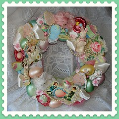 Sweet Easter Wreath (Treasured Heirlooms) Tags: bunnies glitter easter pastel wreath postcards eggs chicks homedecor brightlycolored doordecoration vintageephemera fauxsweets springdecor vintagenutcups vintageleftonchick oneofakindwreaths
