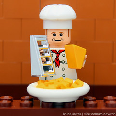 Grating Cheese (bruceywan) Tags: food cheese photo lego bruce chef grater cheddar slope lowell shredder moc