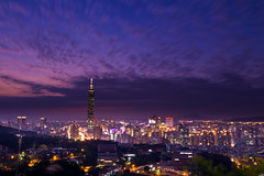 Taipei 101 with drifting clouds (Sharleen Chao) Tags: city longexposure sunset building skyline skyscraper canon landscape cityscape taiwan 101  taipei101   afterglow  101   canoneos550d wb5200k40