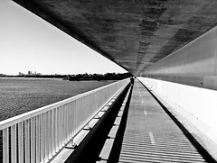 Under the Bridge III (Jarch21) Tags: bridge blackandwhite bw water river mono shadows perspective running perth mobilecamera iphone