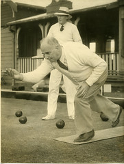 A6678-iv-009 - Mr D. L McLarty bowling with a unidentifed bowler watching  -  Newcastle Bowling Club, Newcastle, NSW, Australia [n.d.] (Cultural Collections, University of Newcastle) Tags: newcastle australia nsw unidentified newcastlebowlingclub dlmclarty cyrilrenwickarchives a6678iv009 davidlyonmclarty
