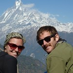 "Us with Macchapuchhre (Fishtail Mountain) <a style=""margin-left:10px; font-size:0.8em;"" href=""http://www.flickr.com/photos/14315427@N00/6989104475/"" target=""_blank"">@flickr</a>"