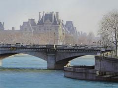 """Le """"pari"""" du BHV (Aquarl) Tags: paris seine eau louvre aquarelle pont monuments berges quais peniches"""