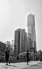 A Foggy and Sunny day in the City.. (Asaf Keles) Tags: street city nyc bw canon blackwhite day manhattan foggy sunny tamron weststreet downtownmanhattan tamron2875 a canoneos50d oneworldtradecenter