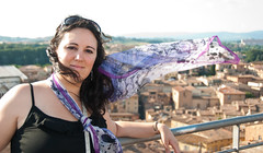 Overlooking Siena (Arian Durst) Tags: portrait italy woman scarf wind blowing tuscany siena flowing